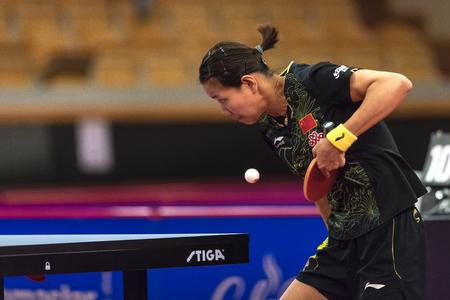 STOCKHOLM, SWEDEN - NOV 17, 2017: Gu Yuting (China) against Kasumi Ishikawa (Japan) at the table tennis tournament SOC at the arena Eriksdalshallen in Stockholm.