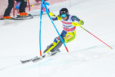 STOCKHOLM, SWEDEN, 2018, JAN 30: The Swedish top slalom skier Andre Myhrer cutting corners in the final at the parallel city event in Stockholm the week before the olympics.