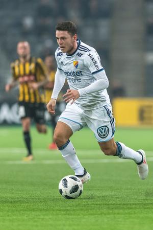 STOCKHOLM, SWEDEN, MARCH, 12, 2018 Midfielder Kerim Mrabti (DIF) at the Swedish cup quarterfinals between Djurgarden and Hacken. Winner DIF with 1-0 Editorial