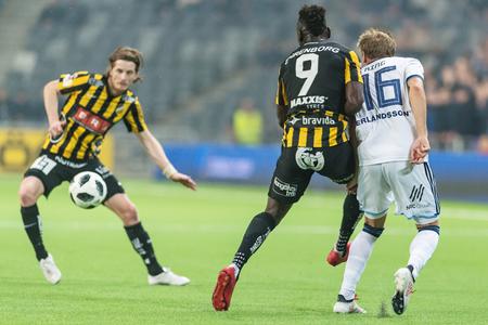 STOCKHOLM, SWEDEN, MARCH, 12, 2018 Hacken forward Alhassan Kamara in action at the Swedish cup quarterfinals between Djurgarden and Hacken. Winner DIF with 1-0