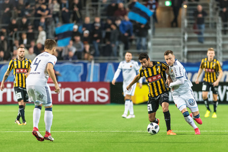 STOCKHOLM, SWEDEN, MARCH, 12, 2018 Fight about the ball at the Swedish cup quarterfinals between Djurgarden and Hacken. Winner DIF with 1-0 Editorial