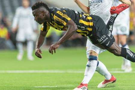 STOCKHOLM, SWEDEN, MARCH, 12, 2018 Hacken forward Alhassan Kamara in a header at the Swedish cup quarterfinals between Djurgarden and Hacken. Winner DIF with 1-0
