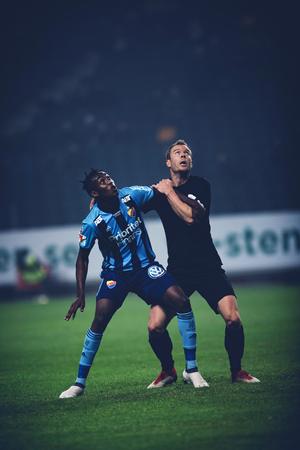 SOLNA, SWEDEN, MARCH, 18, 2018: Djurgarden striker Tino Kadewere at the Svenska cupen semi final. Filtered