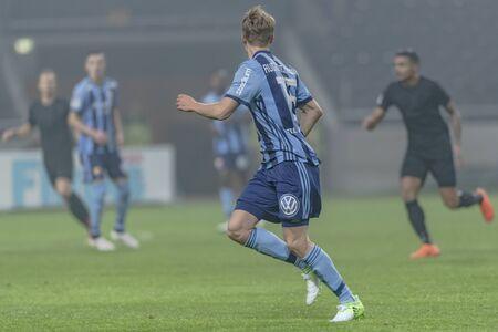 SOLNA, SWEDEN, MARCH, 18, 2018: Djurgarden midfielder Jonathan Augustinsson at the Svenska cupen semi final agains AIK. Final result 2-0 to DIF