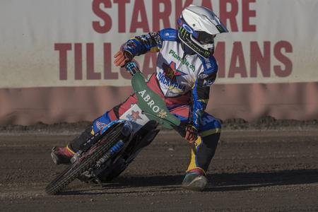 HALLSTAVIK, SWEDEN, AUGUST 7, 2018: Swedish national race leauge Elitserien in Speedway between Rospiggarna and Dackarna at HZ Bygg Arena in Hallstavik.
