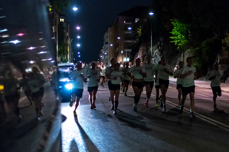 STOCKHOLM, SWEDEN, 18 AUG, 2018: Midnight run at the streets of southern parts of central Stockholm, also called Midnattsloppet. 報道画像
