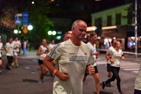 STOCKHOLM, SWEDEN, 18 AUG, 2018: Midnight run at the streets of southern parts of central Stockholm, also called Midnattsloppet. Editöryel