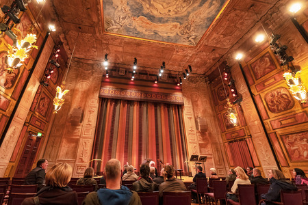 STOCKHOLM, SWEDEN, OCT 6TH, 2018: Guided tour at Konserthuset and the Grünewaldsalen the smallest of the two but highly decorated and great accoustics. Editorial