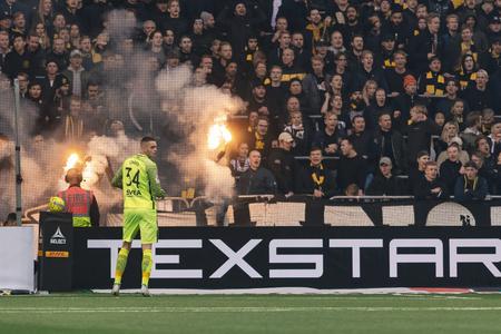 STOCKHOLM, SWEDEN - OCT 21, 2018: Djurgardens IF (DIF) vs AIK at Tele2 arena in Stockholm. Final result 0-0 Editorial