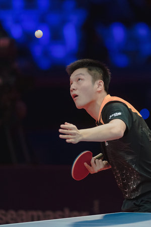 STOCKHOLM, SWEDEN - NOV 4, 2018: Finals between Fan Zhendong and Xu Xin (CHN) at the table tennis tournament SOC at the arena Eriksdalshallen in Stockholm. Fan Zhendong the winner Éditoriale