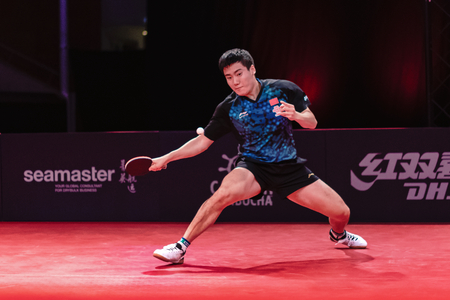 STOCKHOLM, SWEDEN - NOV 3, 2018: Zhendong Fan (CHI) vs Jingkun Liang (CHI) at the table tennis tournament SOC at the arena Eriksdalshallen in Stockholm.