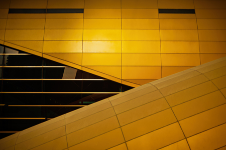 Metro station in abstract closeup with golden colors. Abstract futuristic look good for background