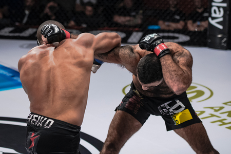 STOCKHOLM, SWEDEN, MAY 11, 2019: Superior challenge 19 between Rostem Akman (SWE) and Mauricio Reis (BRA). Akman won by TKO. Editorial