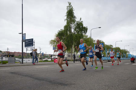 STOCKHOLM, SWEDEN, JUNE 1, 2019: Stockholm Marathon in grey weather and some rainfall.