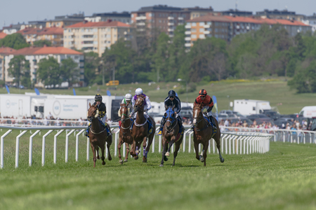 STOCKHOLM, SWEDEN - JUNE 6, 2019: Horse racing during sunny weather at Nationaldags Galoppen in Gardet field in the middle of Stockholm. Editöryel