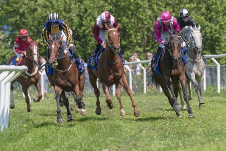 STOCKHOLM, SWEDEN - JUNE 6, 2019: Horseracing during sunny weather at Nationaldagsgaloppen at Gardet, Stockholm.