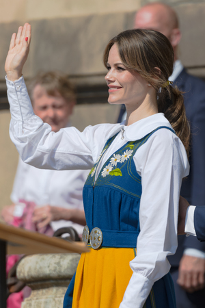 STOCKHOLM, SWEDEN - JUNE 6, 2019: Traditional opening of the royal castle in Stockholm, this year with Prince Carl-Philip and Princess Sofia.