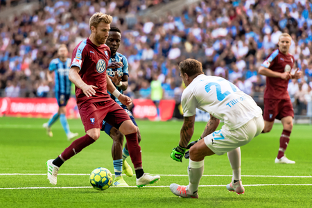 STOCKHOLM, SWEDEN, JULY 14, 2019: Soccer game between DIF and MFF at Tele2 Arena. Match ended 1-1 報道画像