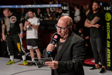 STOCKHOLM, SWEDEN, MAY 11, 2019: Announcer Janne Westerlund at the Superior challenge 19.