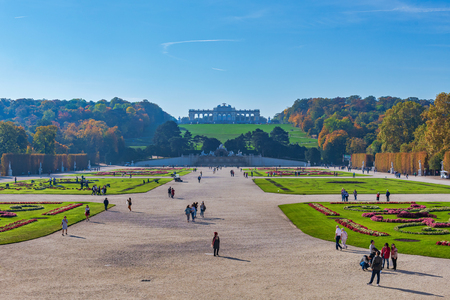 VIENNA, AUSTRIA, OCTOBER 24, 2019: The Gloriette on the hill above the Schoenbrunn palace park complex during a sunny autumn day.