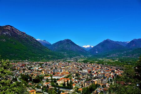 Panoramic view of Domodossola town. Piedmont, Italy 2017