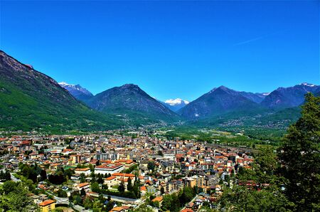 Panoramic view of Domodossola town. Piedmont