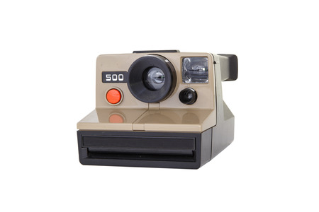 Isolated vintage polaroid camera photo
