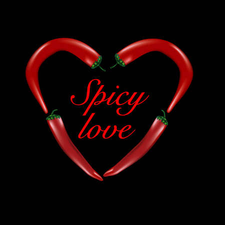 hearty: chilli peppers forming a heart shape on a black background Illustration
