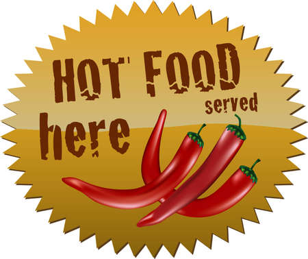 Star-shaped sign with red chili peppers and the message  Vector