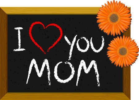 A chalkboard with a childs love message for mom with gerberas Vector