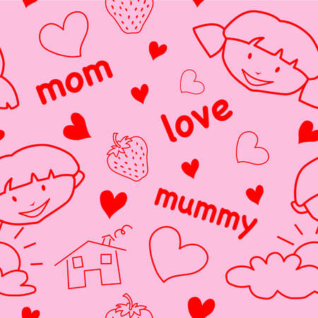Mothers Day seamless pattern with childish drawings & hearts Vector