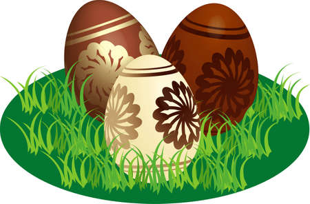 vectorial: Decorated Easter chocolate eggs in a stylized lawn