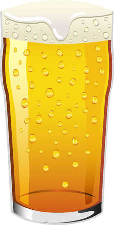condense: pint of lager beer with condensation drops on the glass Illustration