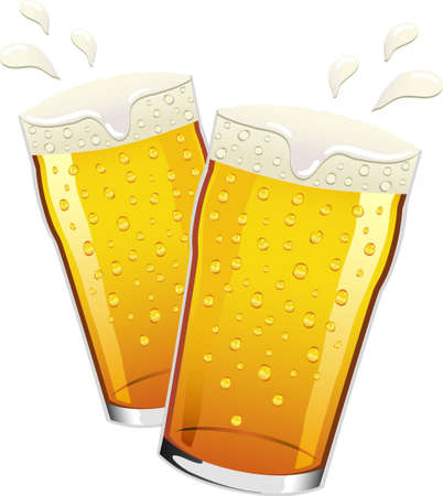 lager beer: Two pints of lager beer with condensation drops on the glass, toasting