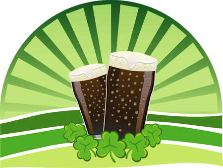 Two pints of beer with shamrocks and a green background Vector