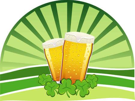 arrozal: Dos pintas de cerveza lager con tr�boles y un fondo verde