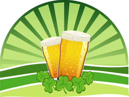 Two pints of lager beer with shamrocks and a green background Vector