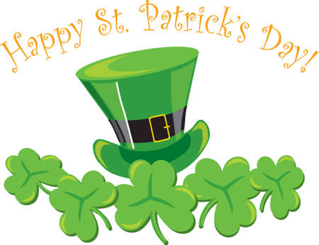 irish pride: St. Patricks decoration with hat &amp, shamrocks on white background
