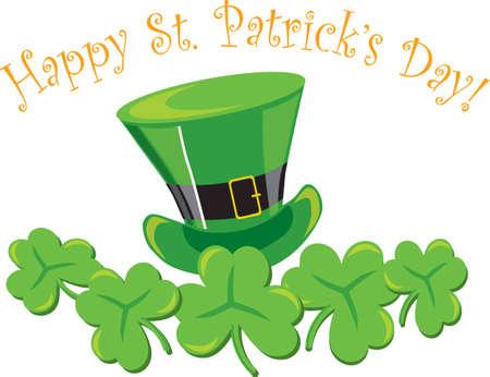 St. Patrick's decoration with hat &amp, shamrocks on white background Stock Vector - 6908376