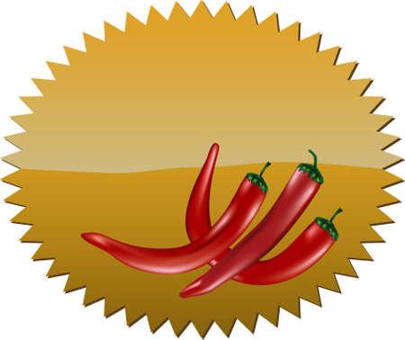 Stervormig bord met rode chilipepers en kopie ruimte erboven