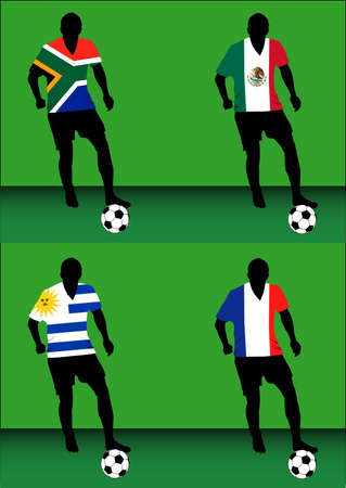 Silhouettes of soccer players with national flags reproduced on their shirts. Teams of group A for 2010 World Cup