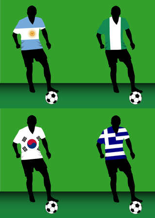 Silhouettes of soccer players with national flags reproduced on their shirts. Teams of group B for 2010 World Cup