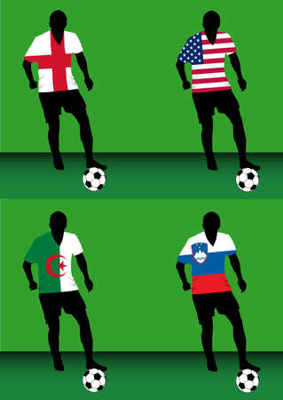 Silhouettes of soccer players with national flags reproduced on their shirts. Teams of group C for 2010 World Cup