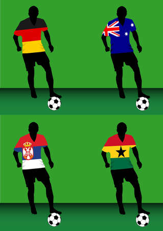 Silhouettes of soccer players with national flags reproduced on their shirts. Teams of group D for 2010 World Cup