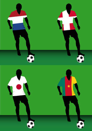 Silhouettes of soccer players with national flags reproduced on their shirts. Teams of group E for 2010 World Cup