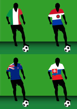 Silhouettes of soccer players with national flags reproduced on their shirts. Teams of group F for 2010 World Cup Ilustração