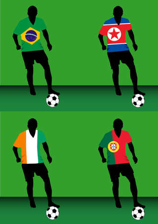 Silhouettes of soccer players with national flags reproduced on their shirts. Teams of group G for 2010 World Cup