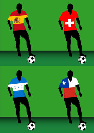 Silhouettes of soccer players with national flags reproduced on their shirts. Teams of group H for 2010 World Cup
