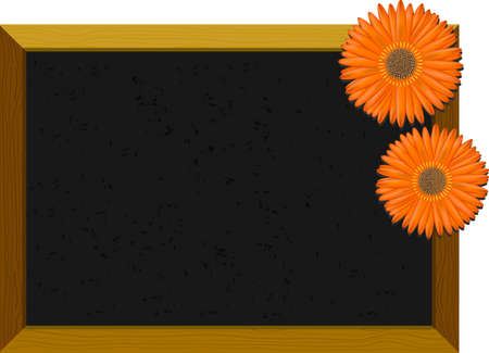 Empty old-fashioned chalkboard with a wooden frame, decorated with orange gerberas Vector