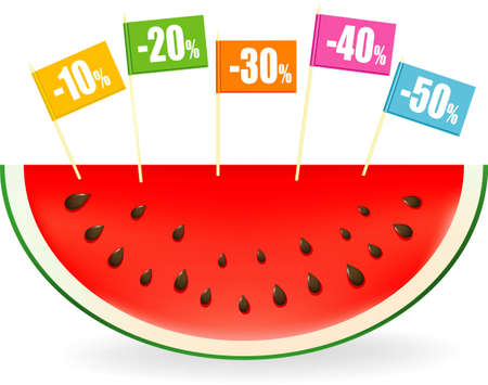 illustration of a slice of watermelon with colored price discount labels on sticks illustration